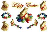 Coelhos e ovos de páscoa — Fotografia Stock