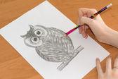 在一张纸上画的猫头鹰 — 图库照片