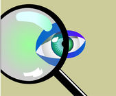 Eye and magnifying glass — Stock Photo