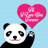 Valentine's Day Card With Cute Panda — Stock Vector