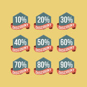 Flat Vintage Discount Badges — Vetorial Stock