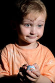 Boy with Kinder — Stock Photo