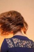 Girl on orange background — 图库照片