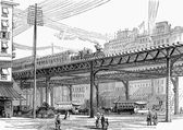 19th century New York, USA, elevated railway — Stock Photo