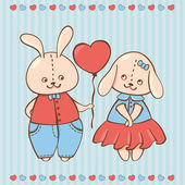 Two valentine rabbit in love. Valentine background with Rabbits — ストックベクタ