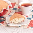 Tea time with apple Pie and berry on red-blue napkin — Stock Photo #50579709
