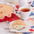 Tea time with apple Pie and berry on red-blue napkin — Stock Photo #50580133