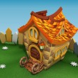 Render cartoon house on the green hill with camomiles — Stock Photo #50981871