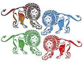 Colored lion drawing — ストックベクタ