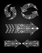 Floral ornamented set of arrows — Stock Vector