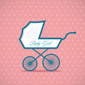 Baby girl stroller — Stock Vector