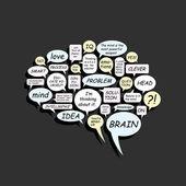 Brain from text balloons — Vector de stock