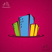 Doodle budynków miasta — Wektor stockowy