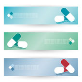 Medical pills banners — Vettoriale Stock