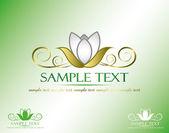 Zlatý lotus nápis — Stock vektor