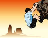 Rock climbing guy — Stock Vector