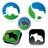 Set of elephant signs — Stockvector