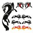 Set of beautiful horse tattoo — Stock Vector #46231323