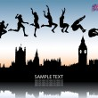 Long jump over London city — Stock Vector #46231963