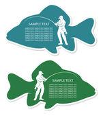 Rybář popisek — Stock vektor
