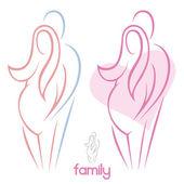 Hamile kadın ve erkek — Stok Vektör