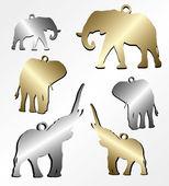 Elephant chain pendant — Stock Vector