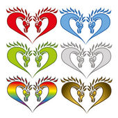 Set of hearts formed from horse heads — Stock Vector
