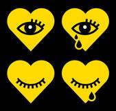 Shapes of heart and eye — Stockvector