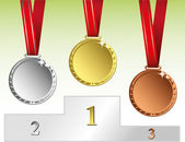 Three medals on podium — Stock Vector