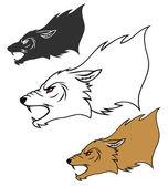 Roaring wolf head — Stockvektor
