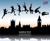 Long jump over London city — Stock Vector