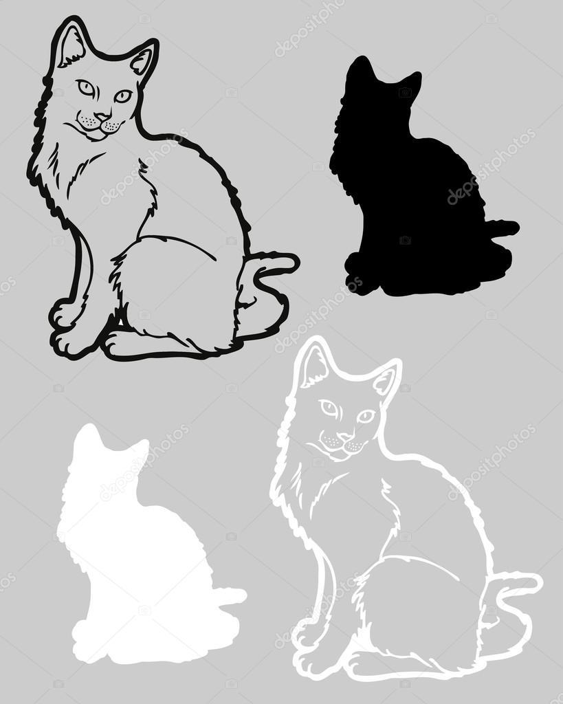 可爱猫咪绘图– 图库插图