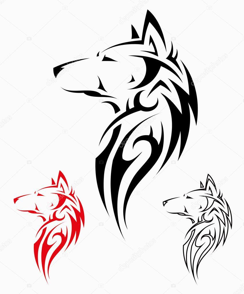 部落狼纹身 — 图库矢量图像08