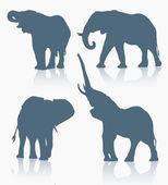 Set of elephant silhouette — Stockvektor