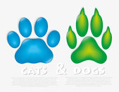 Cat and dog paw — Stock Vector