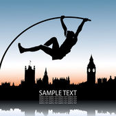Pole vault over London skyline — Stock Vector