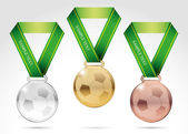 Set of soccer medals — Stock Vector