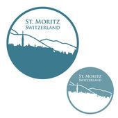 St. Moritz badge — Stock Vector