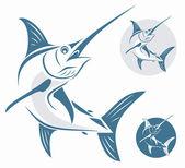 Marlin fish sign — Stock Vector