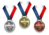 Gold, silver and bronze medal — Stock Vector