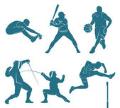 Set of athletes silhouettes — Stock Vector