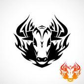 Tribal bull tattoo — Stock Vector