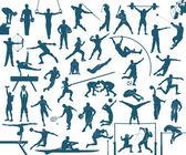 Athlete silhouettes set — Stock Vector