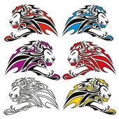 Colorful lion symbols — Vettoriale Stock