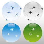Airplane traffic around the world — Stock Vector
