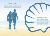 Couple walking on the beach — Cтоковый вектор
