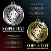 Golden and silver medallion with lion motive — Vetorial Stock
