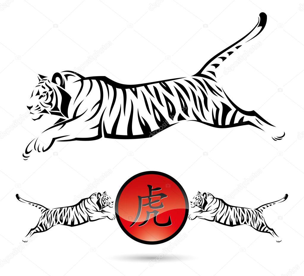 Графические рисунки тигров
