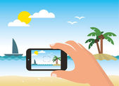 Taking picture of a beach by smart phone — Stock Vector