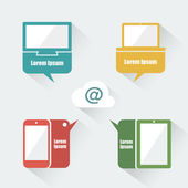 UI devices with speech bubbles — Stock Vector